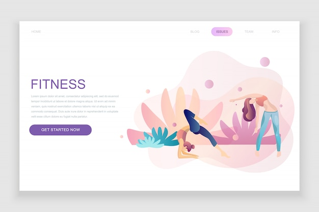 Flat landing page template of fitness