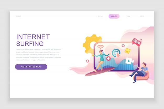Flat landing page template of internet surfing