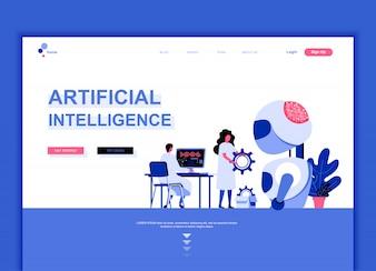 人工知能のフラットランディングページテンプレート