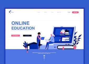 オンライン教育のフラットランディングページテンプレート