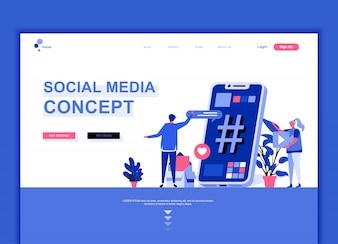 ソーシャルメディアのフラットランディングページテンプレート