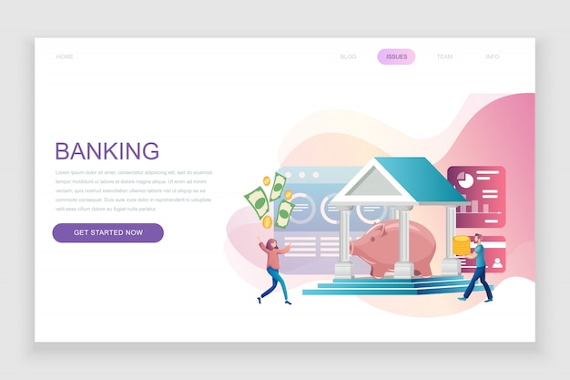 Flat landing page template of online banking