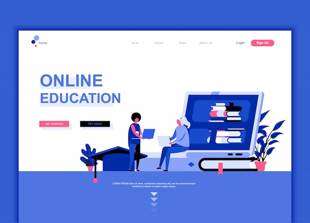 Flat landing page template of online education