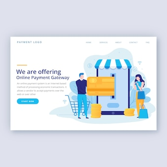 Flat landing page template online shopping