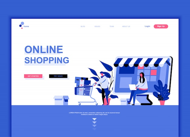 Flat landing page template of online shopping
