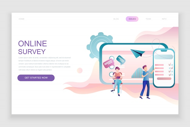 Flat landing page template of online survey