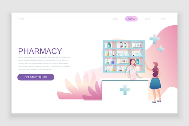 Flat landing page template of pharmacist in pharmacy