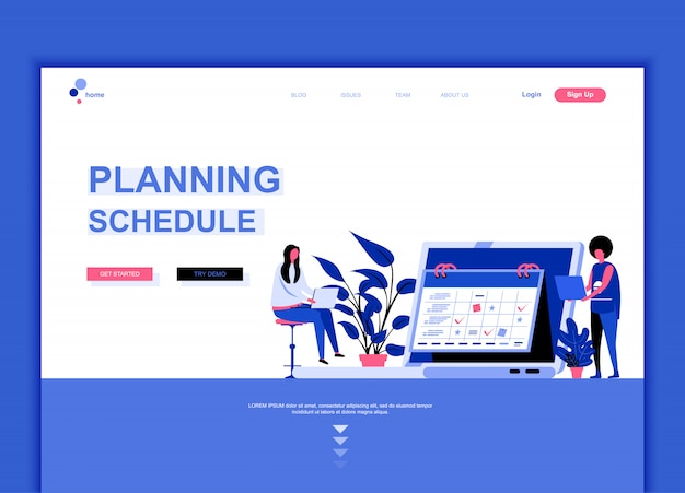 Flat landing page template of planning schedule