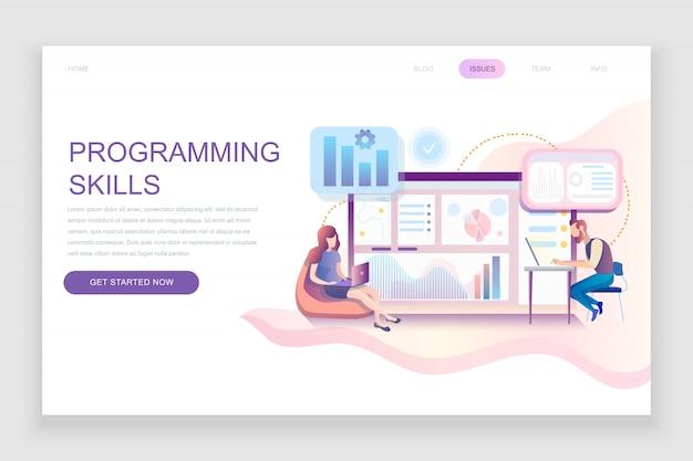 Flat landing page template of programming skills