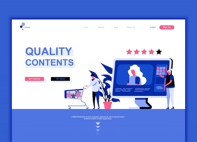 Flat landing page template of quality content