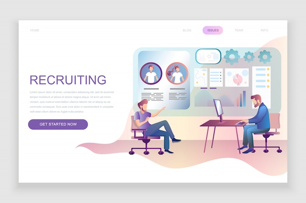 Flat landing page template of recruiting