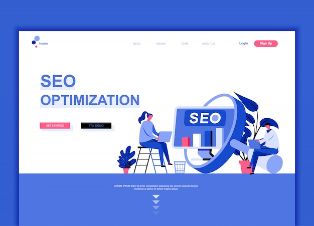 Flat landing page template of seo analysis