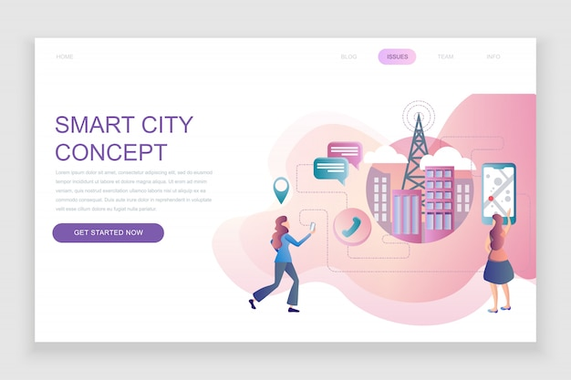 Flat landing page template of smart city technology