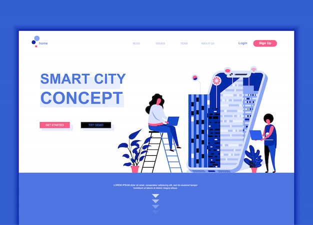 Flat landing page template of smart city