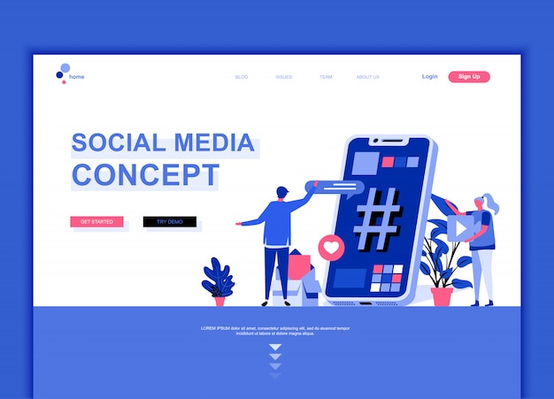 Flat landing page template of social media