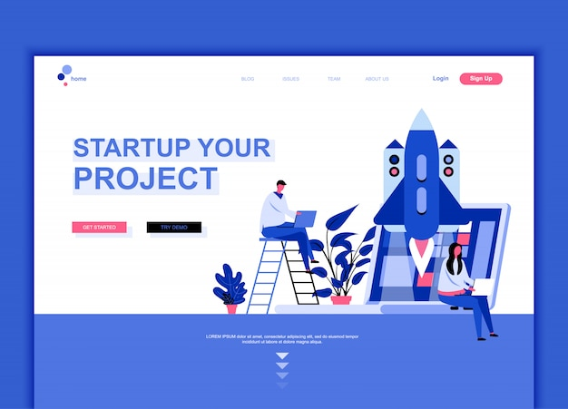 Flat landing page template of startup project