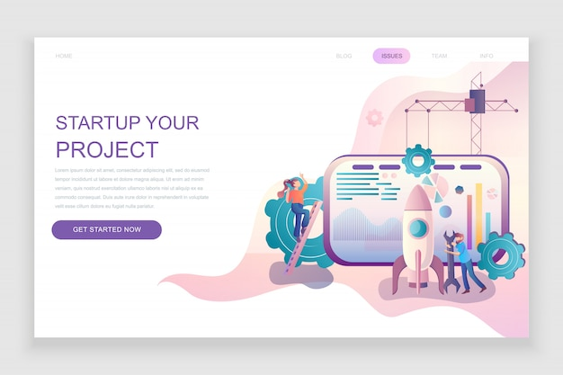 Flat landing page template of startup your project