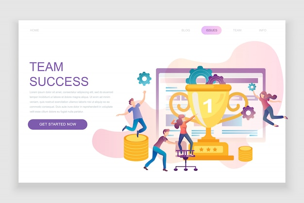 Flat landing page template of team success
