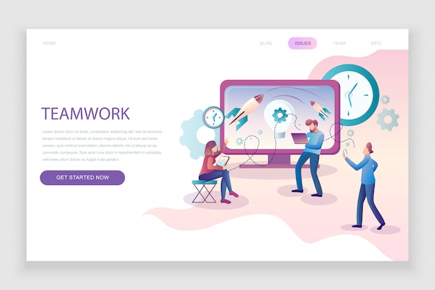 Flat landing page template of teamwork