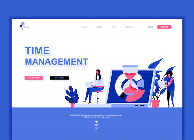 Flat landing page template of time management