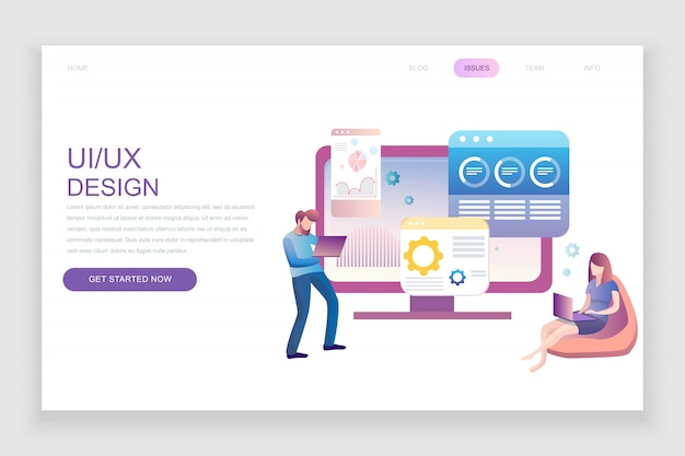Flat landing page template of ux, ui design
