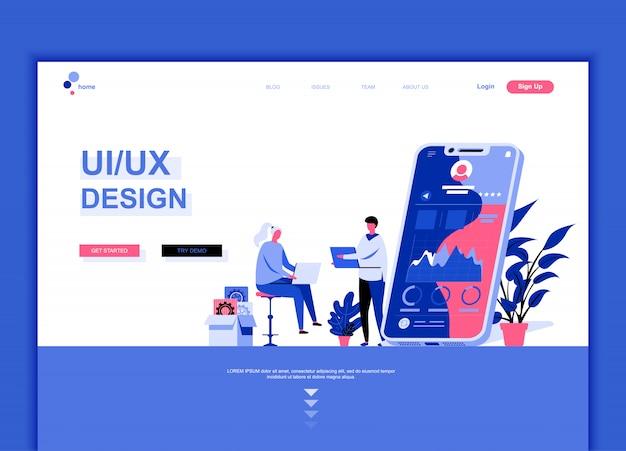 Flat landing page template of ux, ui design