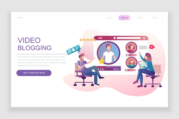 Flat landing page template of video blogging