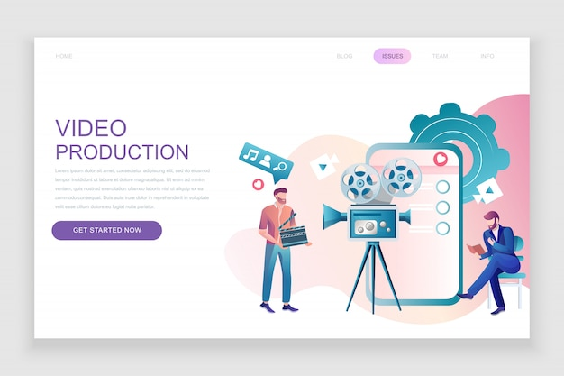 Flat landing page template of video production