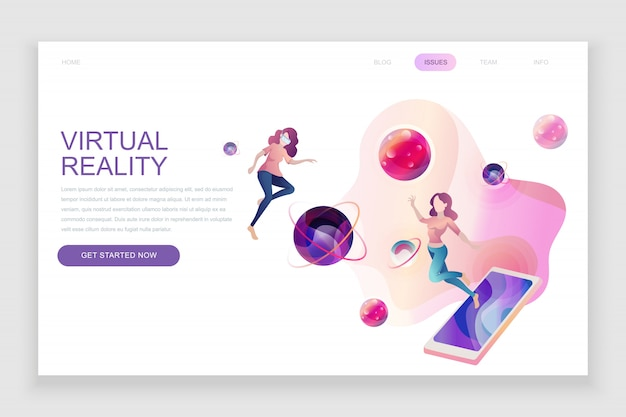 Flat landing page template of virtual augmented reality