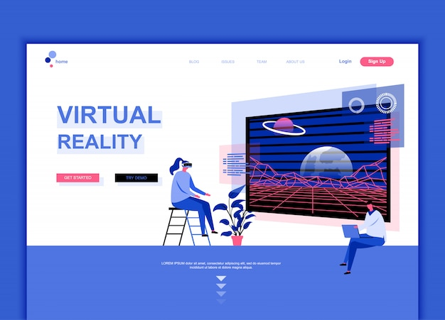 Flat landing page template of virtual reality