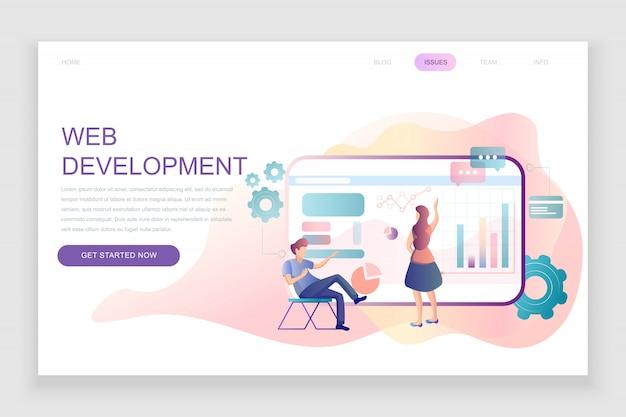 Flat landing page template of web development