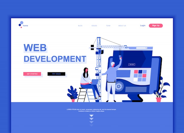 Flat landing page template of web development
