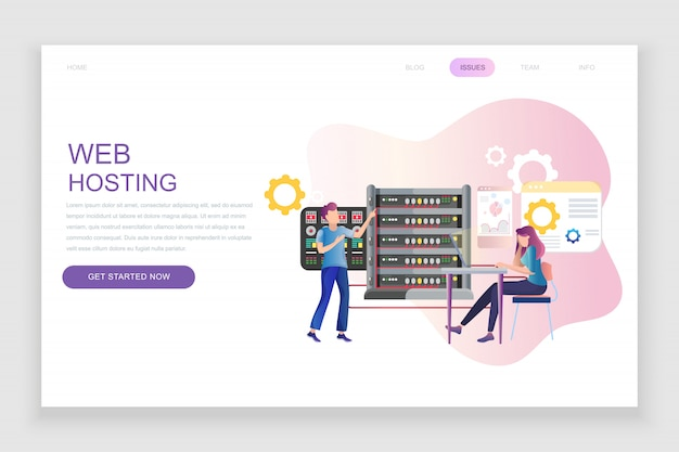 Flat landing page template of web hosting