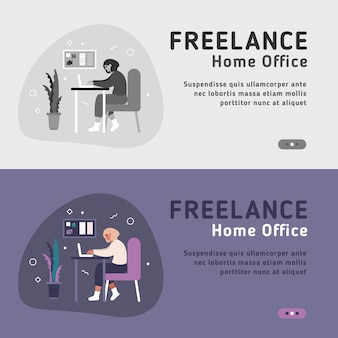 Flat landing page templates of woman and man freelancers with laptops working from home. working online on laptop at home office all over the world.