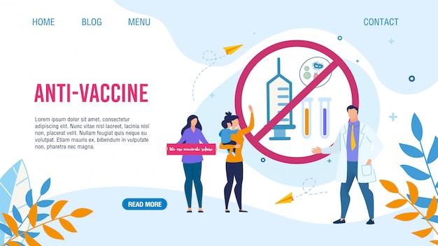 Плоская целевая страница с дизайном против вакцинации Premium векторы