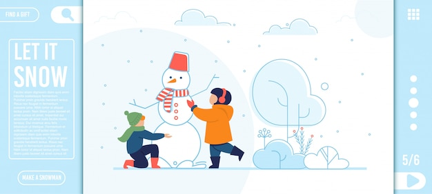 Flat landing page with happy kids making snowman