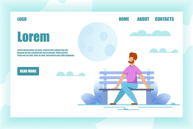Flat landing page with man resting on park bench