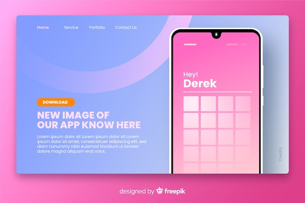 Flat landing page with smartphone