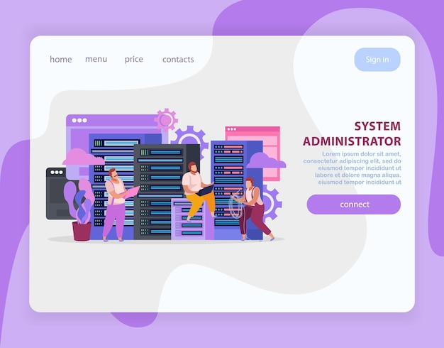 Flat landing page with system administrators working on laptops