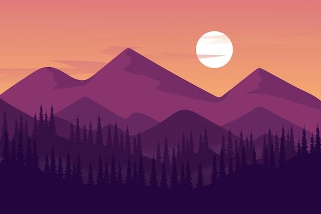 Плоский пейзаж густой лес гора днем густой туман