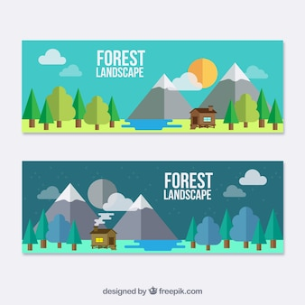 Flat landscape banners with a cute cabin