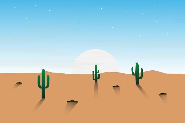 Плоский пейзаж, бесплодная пустыня и красивое естественное небо