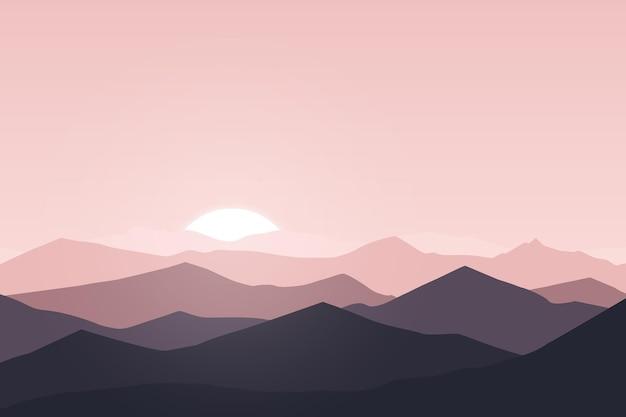 Плоский пейзаж красивая абстрактная горная природа утром