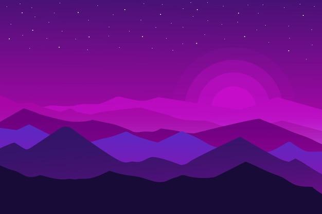 Плоский пейзаж красивые абстрактные горы природы в пурпурном и синем