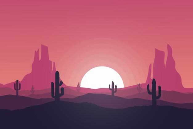 Плоский пейзаж красивая и солнечная природная пустыня