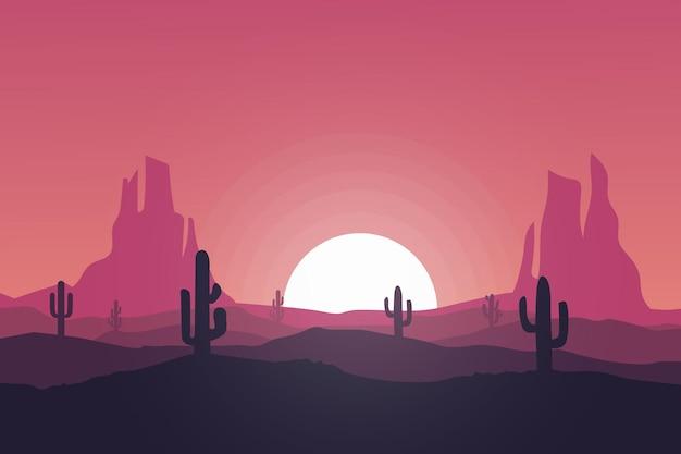 平らな風景美しく日当たりの良い自然の砂漠