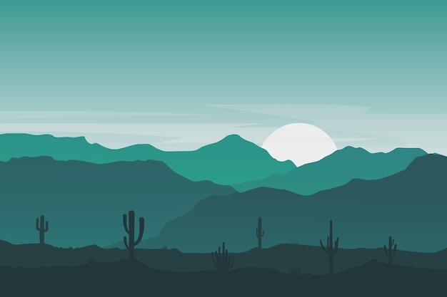 Плоский пейзаж красивый кактус холм горы