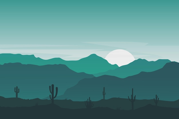 Flat landscape beautiful cactus hill mountains