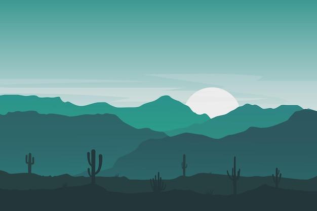 平らな風景美しいサボテンの丘の山々