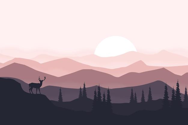 晴れた日の午後の平らな風景の美しい鹿の山